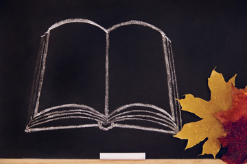 The book is drawn on the blackboard.