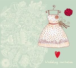 Fototapete - Wedding invitation. Flower pattern