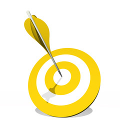 High resolution yellow dart target board with arrow