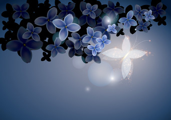 Blue floral background with butterfly / Vector