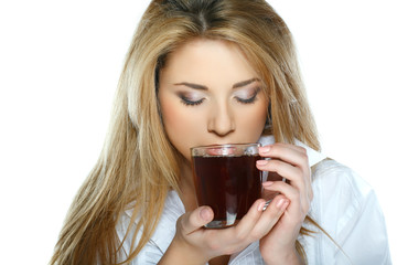 beautiful young girl  with  the cup of tea