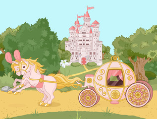 Garden Poster Castle Fairytale carriage