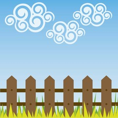 cloud swirls with a fence and grass