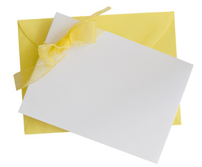 yellow card with ribbon