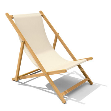 Deck-chair with beige-colored fabric