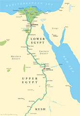 Historical map of Ancient Egypt with most important sights, with rivers and lakes. Illustration with English labeling and scaling. Vector.