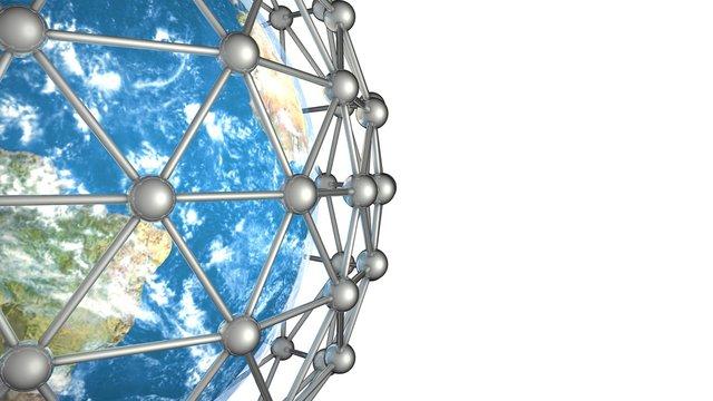 globales Netzwerk auf weiß