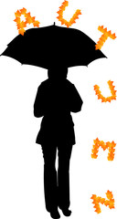 Background with girl with umbrella and letters that fall
