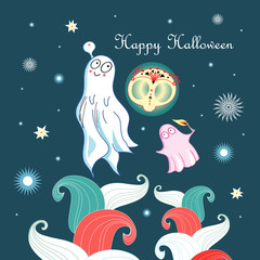 Greeting card with ghosts