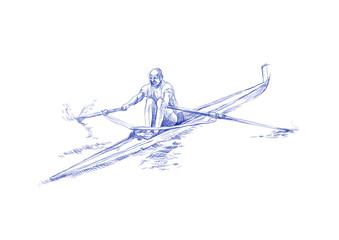 rowing - hand drawing pictures