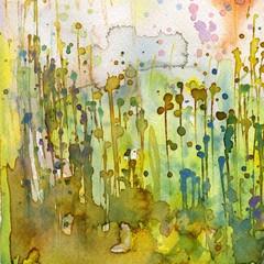Garden Poster Painterly Inspiration Artystyczne tło akwarelowe,