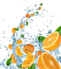 Fresh oranges in water splash on white background.