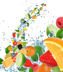 Foto op Aluminium Opspattend water Fresh fruits in water splash on white background