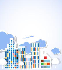 real estate city background landscape with cloudsand trees