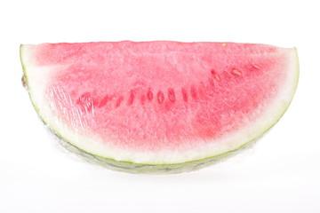 Wassermelone in Plastikfolie