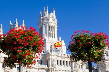 Detail of Palacio de Comunicaciones at Plaza de Cibeles in Madri