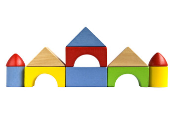 Castle built with wooden toy blocks isolated