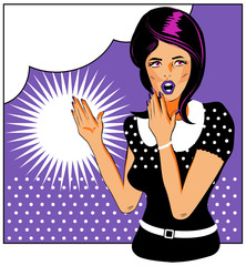Pop art comic 1 Love Vector illustration of surprised woman face