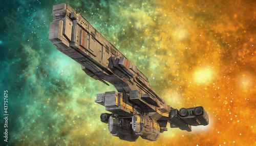 Wall mural spaceship and nebula