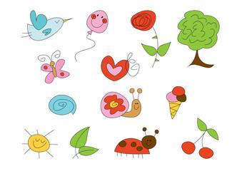 Buntes Clipart-Set: Sommersymbole
