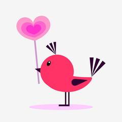 Cute little bird holding a lollipop