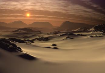 Foto auf Acrylglas Schokobraun Fantasy Landscape - Desert