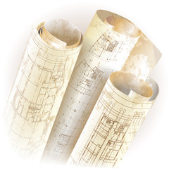 Grunge architectural background with rolls of drawings