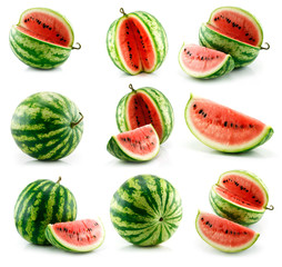 Set of ripe watermelon fruits isolated on white