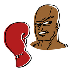 Cartoon boxer man