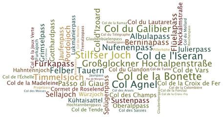 Wortwolke Alpenpässe