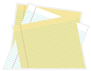 Paper – Stacked white and yellow lined paper