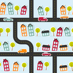 Paper town seamless pattern. Vector illustration.
