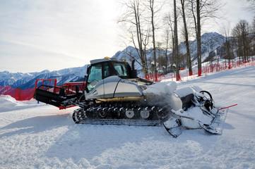 Snowcat on ski resort Krasnaya Polyana in Sochi