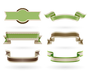 Wall Mural - Set of retro Eco ribbons.