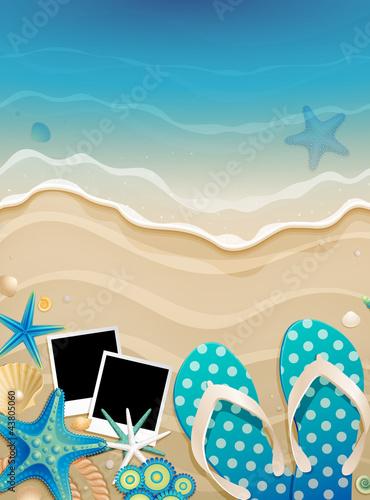 Wall mural Summer background with shells