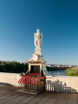 San Rafael Archangel statue on Roman bridge, Cordoba,  Spain