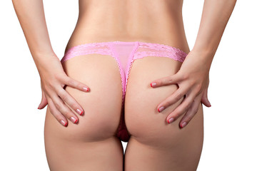 beauty girl Booty in pink string over white
