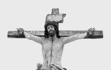 Black and white photograph of a crucifix crista
