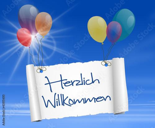 Quot Schild Mit Luftballons Herzlich Willkommen Quot Stockfotos Und Lizenzfreie Vektoren Auf Fotolia
