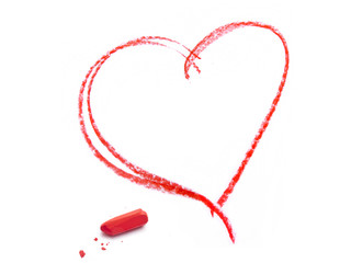 red crayon heart contour and pastel crayon