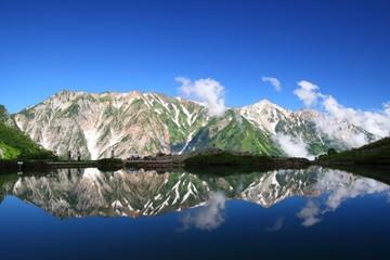 Happo-ike pond and Mt. Shiroumadake in Japan