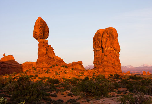 Balanced Rock in Arches National Park near Moab, Utah at sunset