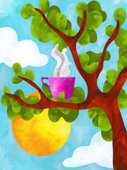 disegno con tazzina calda su albero