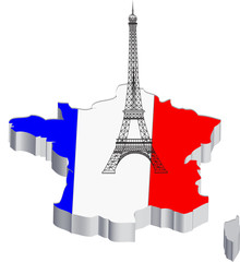 France map with eiffel tower