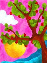 albero di mele rosse