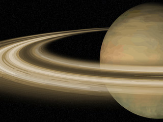 Wall Mural - Solar System: Saturn over black cosmos background