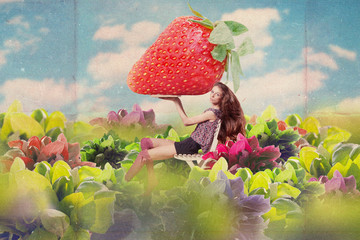art collage with beautiful woman with strawberries