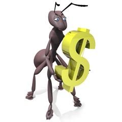 3D rendered ant figure holding dollar sign