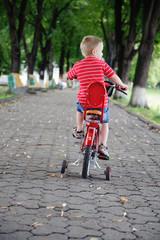 Little boy riding a bike in park