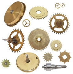clock gears mechanism isolated on white background